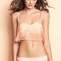 Apricot Sleeveless Hole Cut-Out Cropped Top Overlay Bikini
