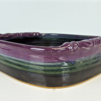 Purple Green Black Pottery Tray Dish Planter, Shallow Planter Pottery, Pottery Catch All Dish, Purple Ceramic Herbs Planter, Boho Chic Decor