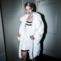 Casual White Open Front Fur Coat