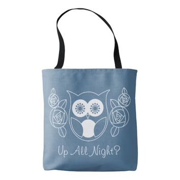 Up All Night? Cute Retro Owl and Roses Custom Tote Bag