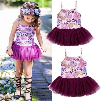 Fashion Kids Baby Girls Princess Flowers Sleeveless Dress Skirt Sundress Summer