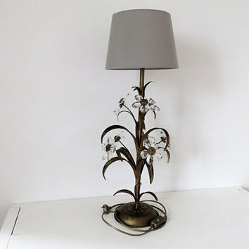 Vintage French, Table Lamp, Gilt, Crystals