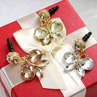 Crystal Butterfly Anti-dust Plug Earphone Cap Stopper iPhone Accessories Charms