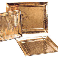 Rectangular Hammered Décor Copper Tray, Serving Plates & Platters
