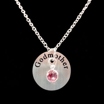 Birthstone Personalized Godmother Gift Will You Be My Godmother Necklace