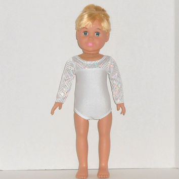 American Girl Doll Clothes White and Silver Performance Leotard fits 18 inch Dolls