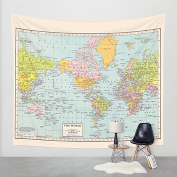 World Map Tapestry Wall hanging - vintage map, pastel colors, beautiful map, travel decor, wall decor atlas, den, bedroom, library