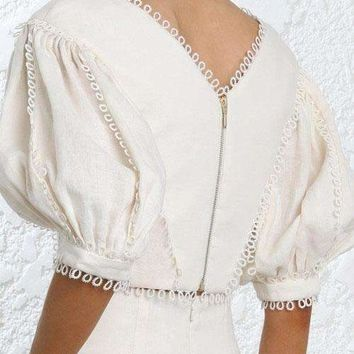Wishbop Short Cream Painted Heart Tear Bodice Tops V-Neck Lace Edge Elbow Length Puff Sleeves Circles Cuffs Zip Back