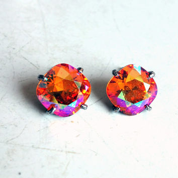 Pink Sunrise Swarovski Crystal and Sterling Silver Prong Studs