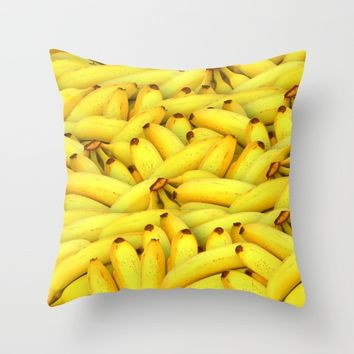 Yellow Bananas pattern Throw Pillow by Creativepics