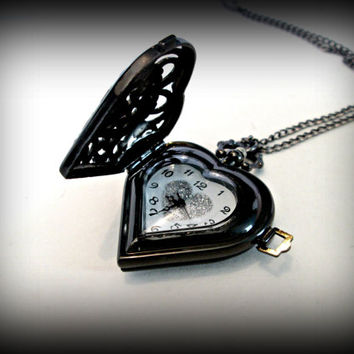 Black heart Pocket Watch-quartz watch pendent-Retro watch-top cover flips watch-watch necklace-gothic watch pendent-heart watch