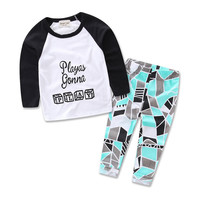 Letter Print T-shirt Top + Pant 2pcs