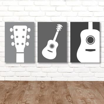 Boy GUITAR Wall Art, Music Theme Guitar Nursery Decor, Boy Guitar Bedroom Pictures, Music Rock and Roll Set of 3 Guitar Canvas or Print