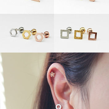 16g Flat Brushed Geometric Ear Piercing Stud Barbell, cartilage earring helix conch tragus piercing / 316L Surgical Steel