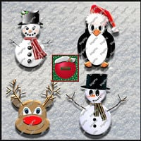 COMMERCIAL USE OK, 4 Scrapbook Clipart, 2 Snowmen, 1 Christmas Penguin, And A Reindeer Instant Download