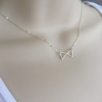Tiny Bow Tie Necklace. Minimalist Triangle Necklace. Silver or Gold.  Geometric Pendant. Sterling Silver, Gold Fill.