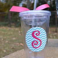 Acrylic double wall tumbler with turquoise chevron and pink initial with ribbon