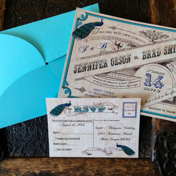 peacock wedding invitation and RSVP card suite with petalfold