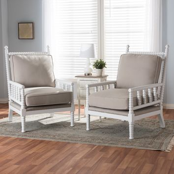 Baxton Studio Hillary Modern and Contemporary Beige Fabric Upholstered and White Finish Wood Spindle-Back Accent Chair Set of 2