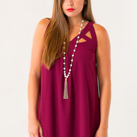 Cinque Crossover Dress in Maroon