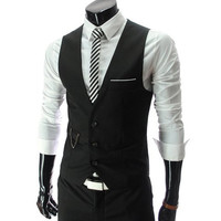 Black V-Neck Sleeveless Vest