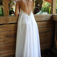 100 Percent Cotton Backless Halter Nightgown by SarafinaDreams
