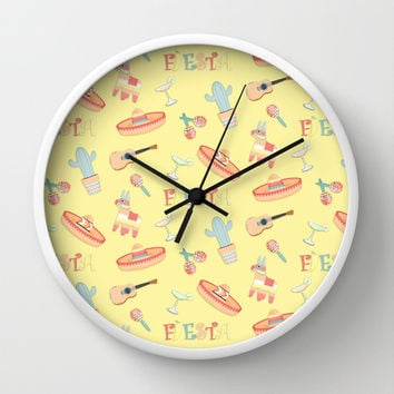 Fiesta Fun On Yellow For Your Southwestern Decor Wall Clock by CandyBoxDigital