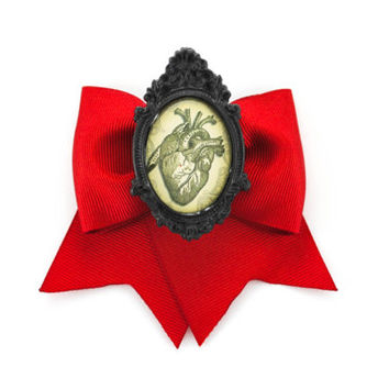 Anatomical Human Heart Cameo Blood Red Ribbon Traditional Hair Bow Clip
