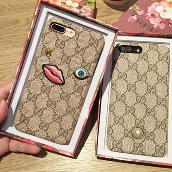 Gucci Fashion Embroider silica gel phone case iPhone 6 s mobile phone shell iPhone 7