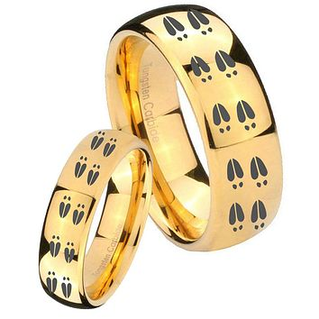 His Her Glossy Dome Deer Tracks 14K Gold IP Tungsten Wedding Rings Set