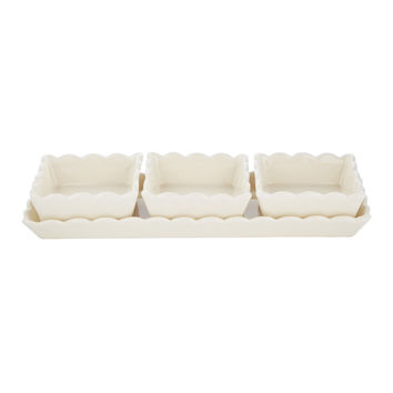Scallop Tray with 3 Dishes