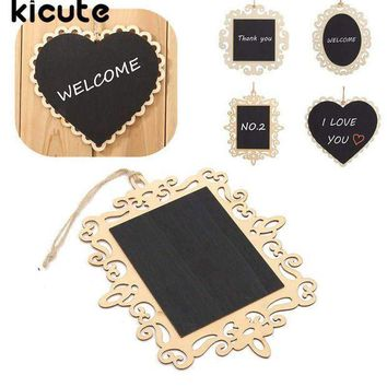 ESBONIS Cute Mini Vintage Hanging Wood Blackboard Chalkboard Message Label School Teaching Memo Sign Home Party Wedding Christmas Decor