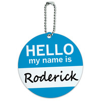 Roderick Hello My Name Is Round ID Card Luggage Tag
