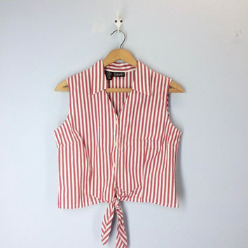 80s Vintage Cropped Striped Summer Blouse, Waist Tie, 1980s Shirt Top