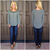 Sweet Pea Lace Detailed Blouse - OLIVE