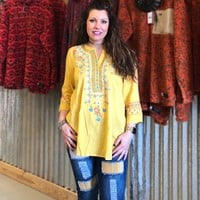 Mustard Embroidered 3/4 Sleeve Top