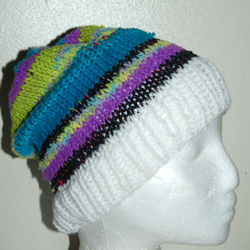 Knitted Womens hat, Beanie, Tam, handmade Hat , One Size. Colorful, Soft Yarn