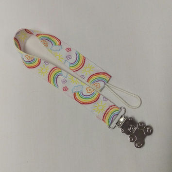Rainbows and Sunshine Adult Pacifier Leash Adult Pacifier Clip Paci Clip! DDLG little girl MDLG Adult Baby ABDL, mdlb, ddlb