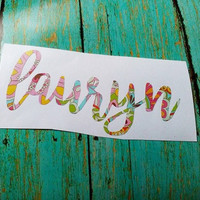 Floral print name decal, Custom name sticker, Boho floral print, Paisley flowers, Preppy girl gift