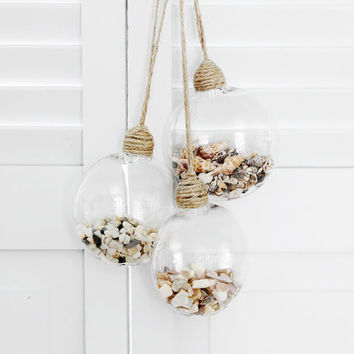 Beach Cottage Christmas, Seashell Filled Ornaments, Holiday Decor