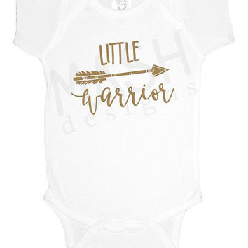 Little Warrior baby one piece, gold, arrow, miracle baby, baby shower gift, baby girl boy bodysuit, gift under 20, preemie, nicu