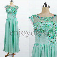 Custom Mint Beaded Flowers Long Prom Dresses Bridesmaid Dresses 2014 Wedding Party Dresses Party Dress Evening Gowns Formal Evening Dresses