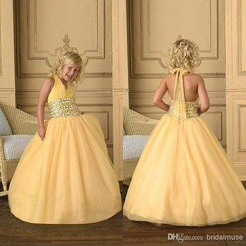 Sweet Kids Party Halter Flower Girls' Dresses For Weddings Beaded Ball Gown Little Yellow 2016 Girls Pageant Dresses AF53