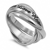Faith, Hope, Love Triple Rolling Ring