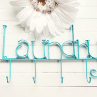 Laundry Room Decor / Laundry Room Sign / Laundry Room Wall Decor / Tiffany Blue / Laundry Hooks / Towel Rack / Clothes Line / Wall Hook
