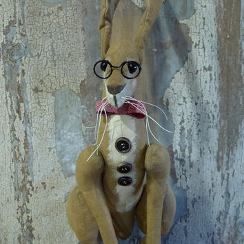 Colonel Mustard Hare:  vintage style, soft sculpture (rabbit, bunny), fabric art doll, artist bear.