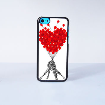 Cute Giraffe With Flying Ballon  Plastic Case Cover for Apple iPhone 5C 6 Plus 6 5S 5 4 4s