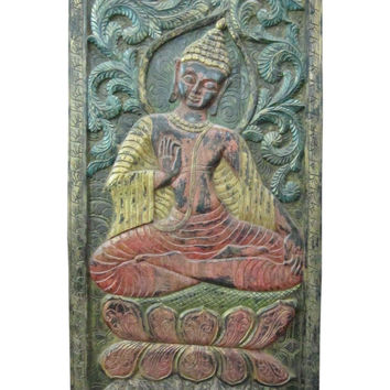 Bhumi Sparsha Buddha Vintage Doors Hand Carved Wood Wall Hanging Sculpture India 72 X 36 Inches