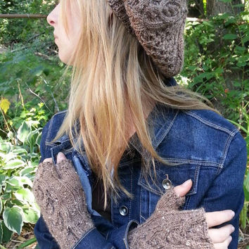 Outlander inspired fingerless gloves, slouch beret tam hat set with celtic cables, Aran knit in nut brown merino alpaca Donegal blend