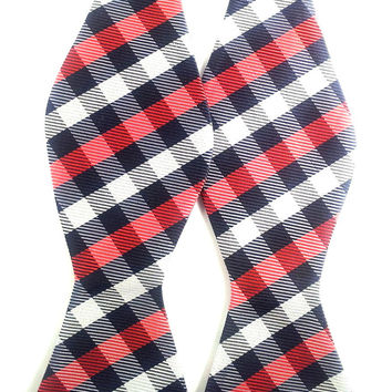 Red Black and White Checkered  - Self-Tied Bow Tie